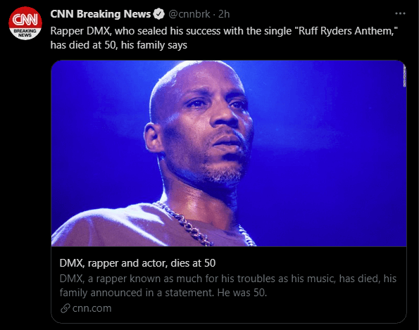 Rapper and Actor DMX Passes Away at 50