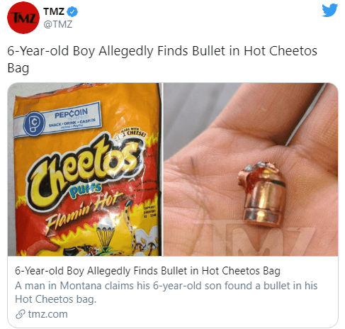 Six Year Old Allegedly Finds a Bullet in Cheetos Bag